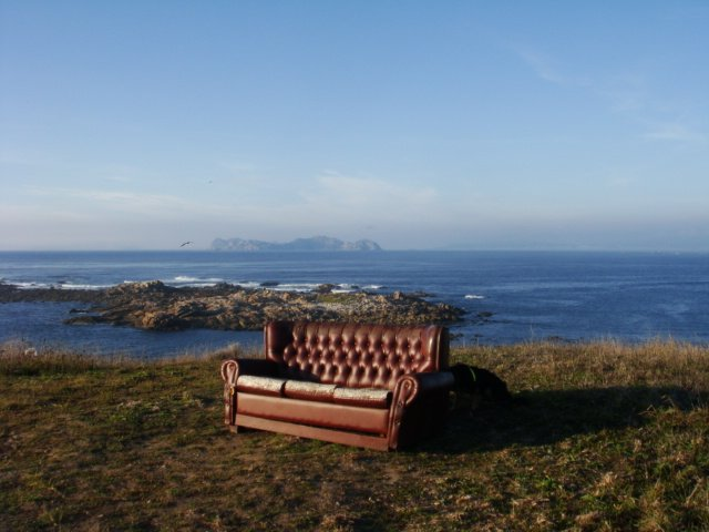 A couch waits invitingly on the hill west of Baiona, Galicia