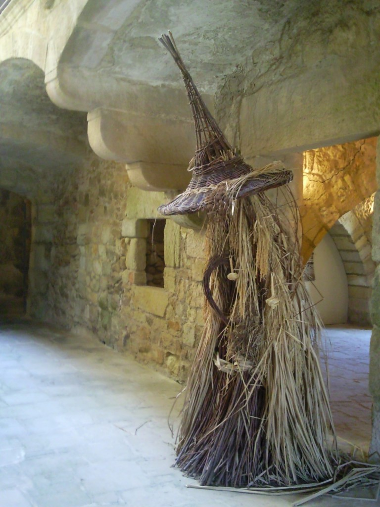 A Pagan looking sculpture in the lobby at the gallery in Pals, Catalonia