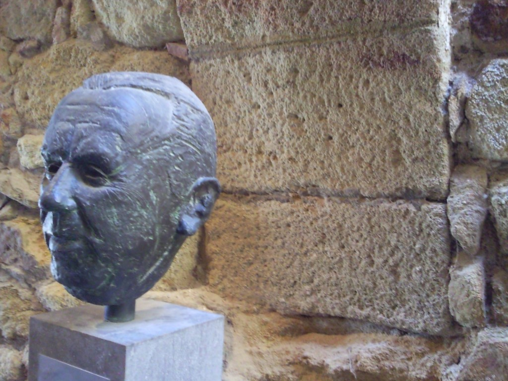 Bust in the reception at the gallery in Pals, Catalonia