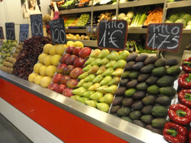 fruit display in the central market in Malaga