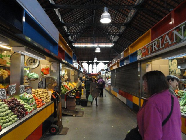 aisles in the central market in Malaga