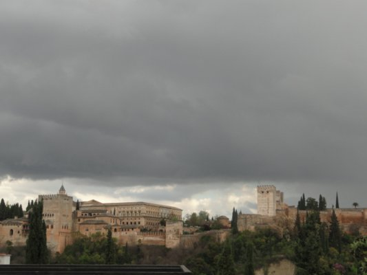 Stormy skies above the Alhambra in Granada