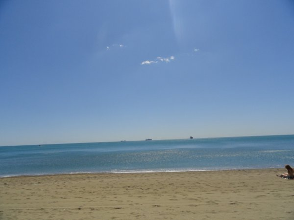 view from the beach in Malaga