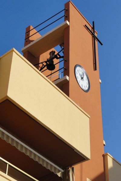 The clock tower of the church at Torredembarra
