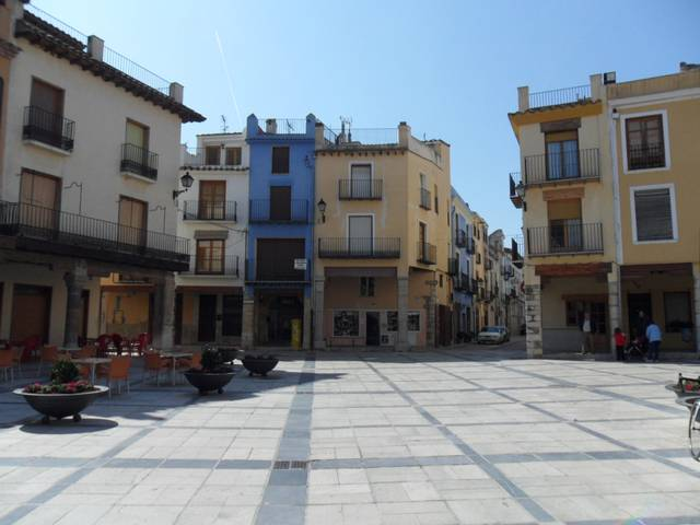 The central plaza at Mestre de Montanesa, Valencia, where a strange radio station was blasted across the square.