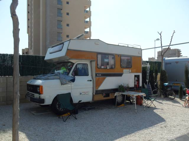 A 30-year-old campervan still in service at Camping Calpemar, Calpe, Costa Blanca
