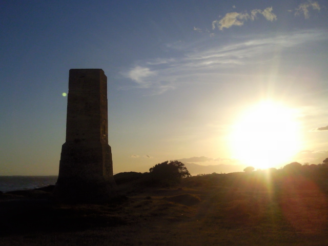 Torre Ladrones stands enigmatically against the setting sun.