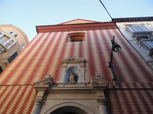 Front of the stripey church in Malaga