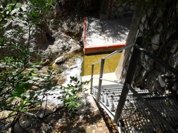 The staircase to Barranco Blanco's waterfall