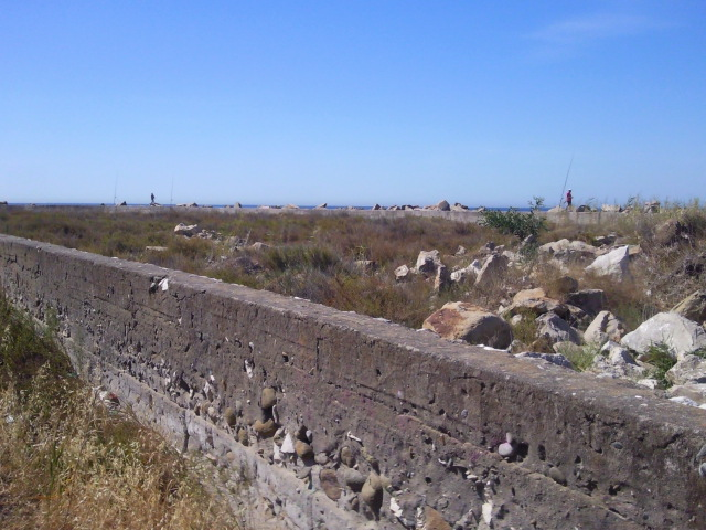 A section of wall that was intended to form part of the industrial harbour at Estepona.