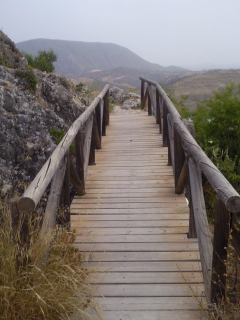 Wooden walkways and staircases - Castillo Nazari, Zahara de la Sierra, Andalucia is a magical place.