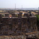 Seeing the surrounding countryside, lakes and Monsaraz from the castle walls in Mourão, Alentejo, Portugal