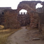 Many of the inner walls are crumbling at the castle in Mourão, Alentejo, Portugal
