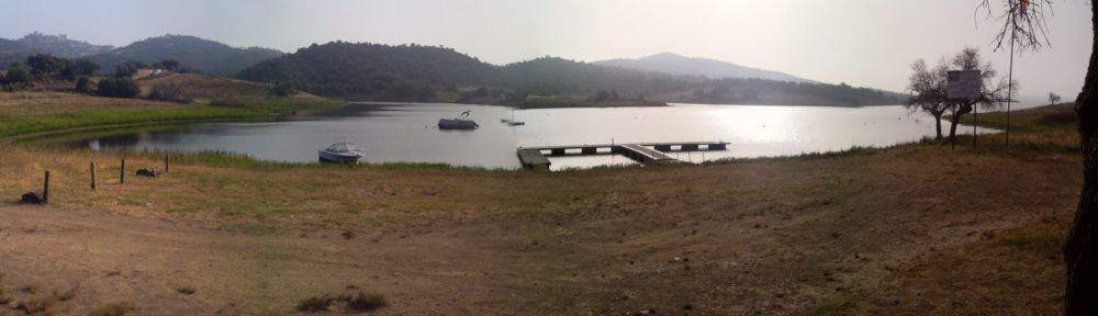 Panoramic view of the shores of Alqueva Lakes where they meet the Nautical Centre, Alentejo, Portugal.