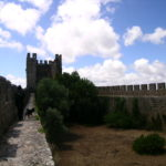 The narrow and slippery walls of Obidos, Portugal